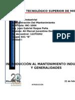 unidad I Mantenimiento Industrial