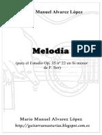 M. M. Alvarez López. Melodia Para El Estudio Op. 35 Nº 22 en Si Menor de F. Sor