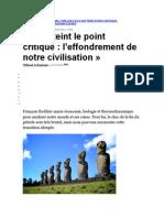 Francois Roddier - On atteint le point d'effondrement de notre civilisation