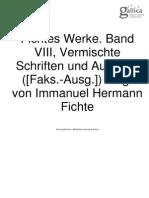 Fichtes Werke Band VIII