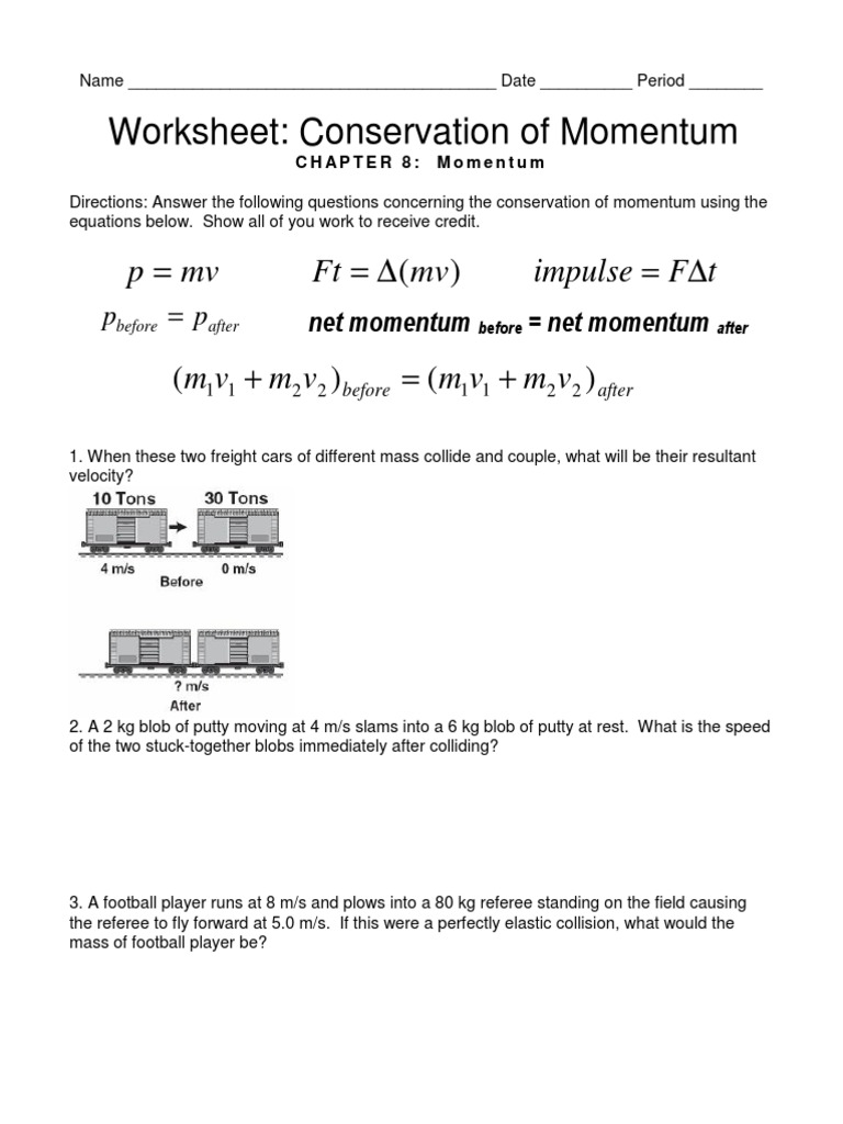 Collection of Conservation Of Momentum Worksheet Answers ...
