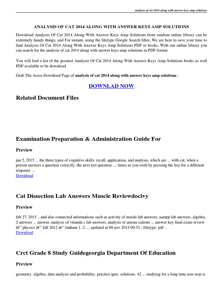 ... Array - analysis of cat 2014 along with answer keys amp solutions pdf  test rh scribd