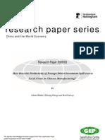 Spillover effects of FDI