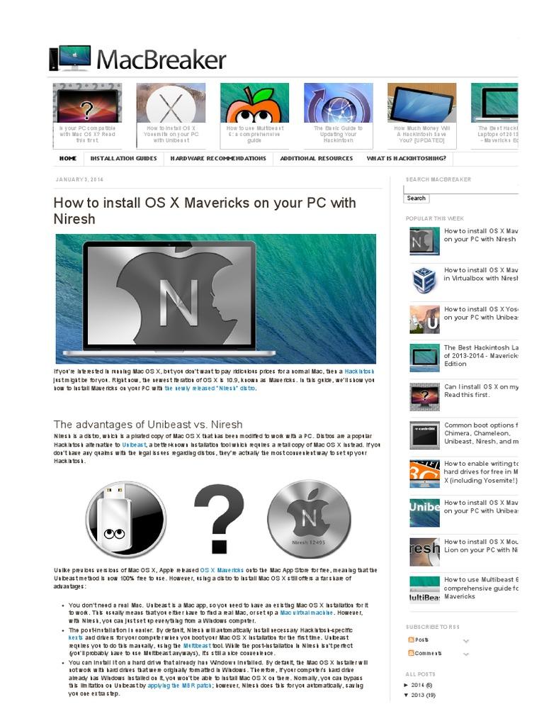 Install OS X Mavericks on Your PC | Bios | Booting