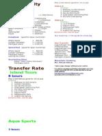 New Transfer & Activity Rates