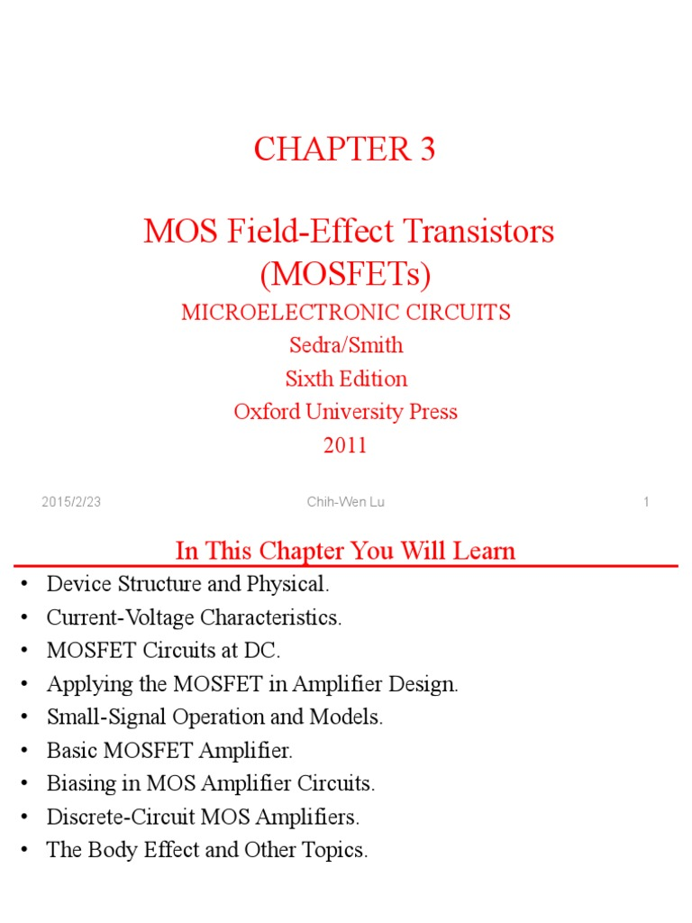 Mosfets 2015 02 23 Field Effect Transistor Mosfet Circuit Design