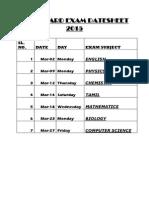 Cbse Date-sheet 2015