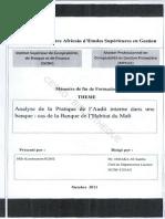 Analyse Et Pratique de l'Audit Interne Dans Une Banque