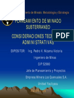 01-PL11 Planeamiento de Minado Subterraneo Consideraciones Tecnicas y Administrativas-PERU