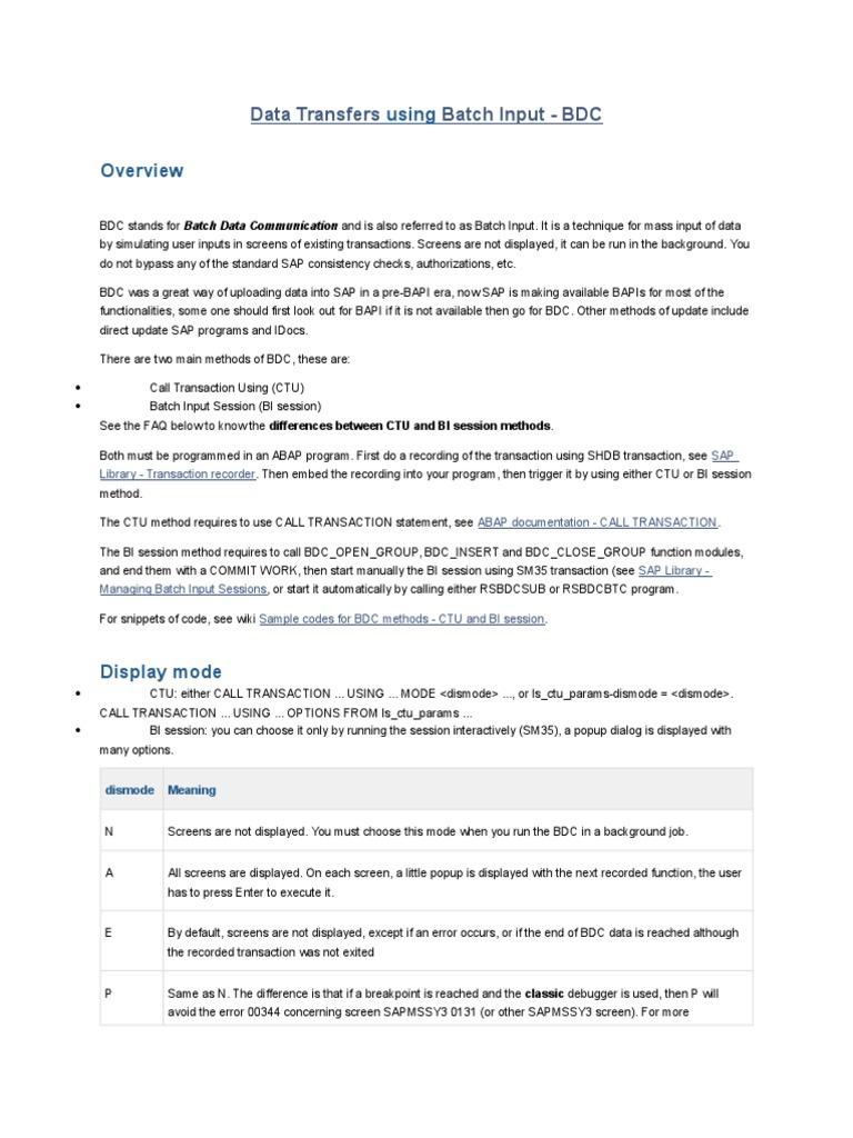 ABAP_DataTransfers(Batch Input-BDC) docx   Tecnologia