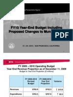 SFMTA Presentation on FY 10 Budget Including Muni Changes 1-29-10