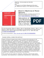 Calculation of Transmission Line Parameters From Synchronized Measurements