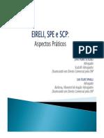 EIRELI, SPE e SCP