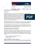 Home Affordable Modification Program – Program Update and Resolution of Active Trial Modifications