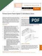 Portland Cement Plaster Over CMU