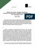Crítica Del Canon, Estudios Culturales, Estudios Poscoloniales y Estudios