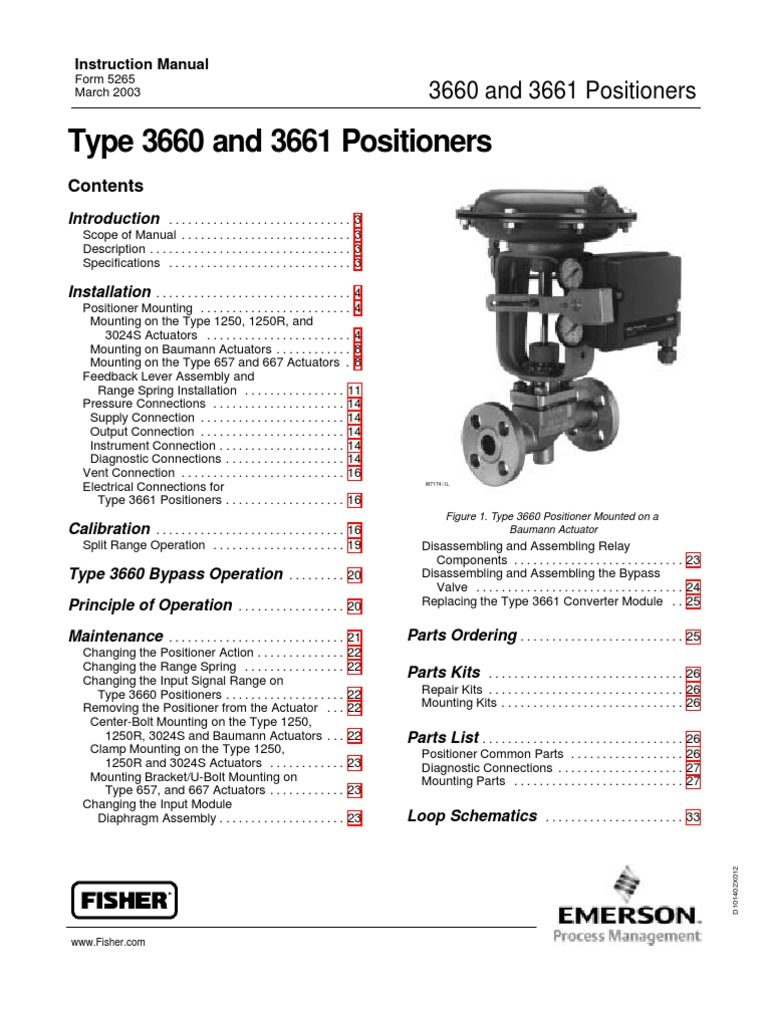 Fisher 3661 Valve Pipe Fluid Conveyance Relay Working Principle