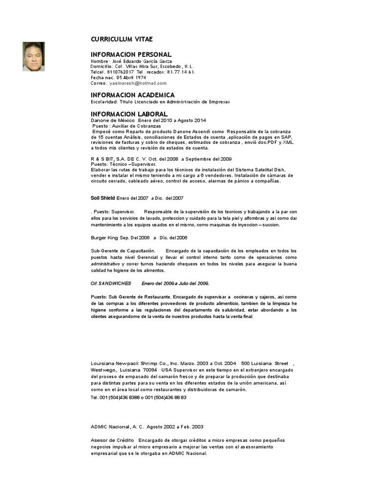 Hermosa Supervisor De Limpieza Curriculum Vitae Pdf Motivo - Ejemplo ...
