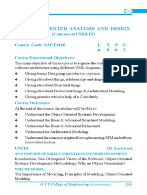 Object Oriented Analysis Design Unified Modeling Language Scientific Modeling