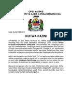 Tangazo La Kuitwa Kazini Machi, 2015