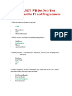 Elance VB.net (VB Dot Net) Test Answers Just for IT and Programmers