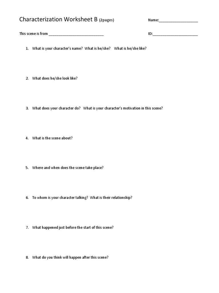 Worksheets. Character Motivation Worksheet. eihseba.com Free ...