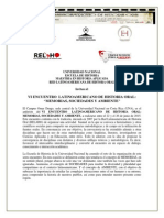 Convocatoria VI Encuentro Latinoamericano de Historia Oral UNA Costa Rica 22 26 de Junio de 2015 RELAHO UNA
