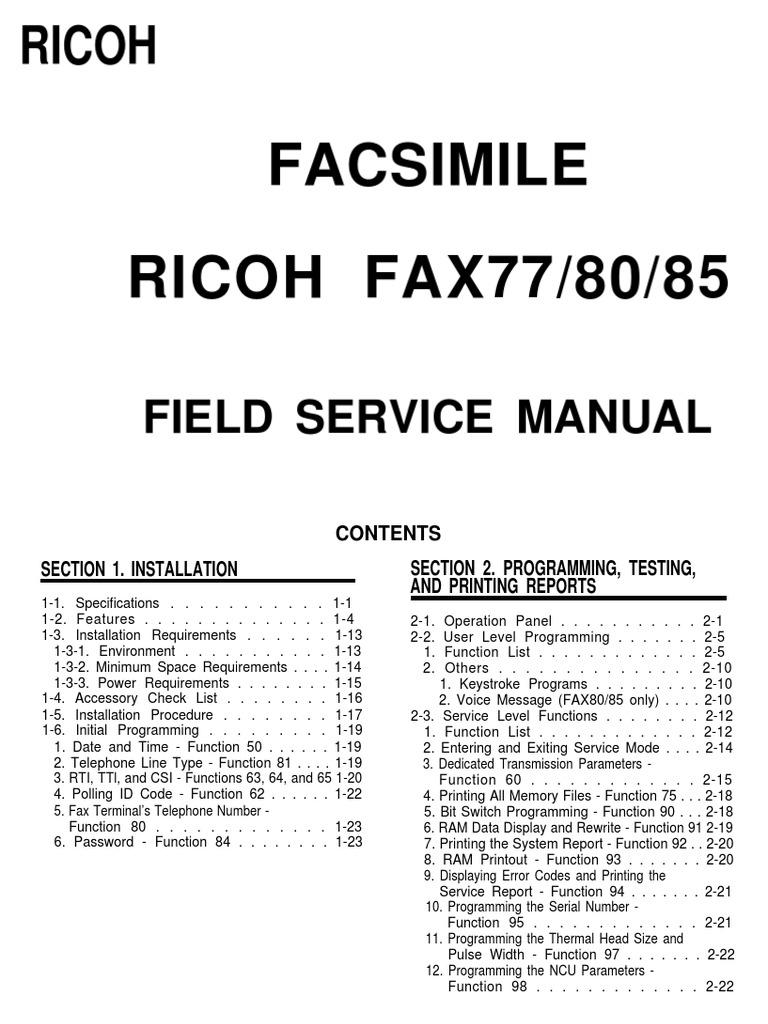 Facsimile RICOH FAX77/80/85: Field Service Manual