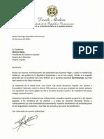Carta de Condolencias del Presidente Danilo Medina a Mariano Rajoy por Accidente Aéreo de Germanwings