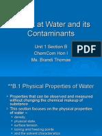 Chem Com Unit 1B A Look at Water and its Contaminants