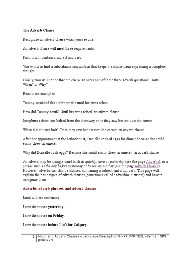 adverb clause explanation