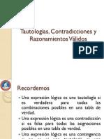 Presentacion II Tautologias Contradicciones y Razonamientos Validos