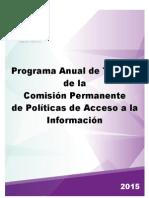 Programa anual de trabajo de la Comisión Permanente de Políticas de Acceso a la Información