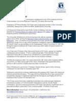 University of Melbourne statement on Malcolm Fraser