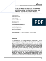 Variables tecnológicas y etapas de adopción de la tecnología en docentes de educación media