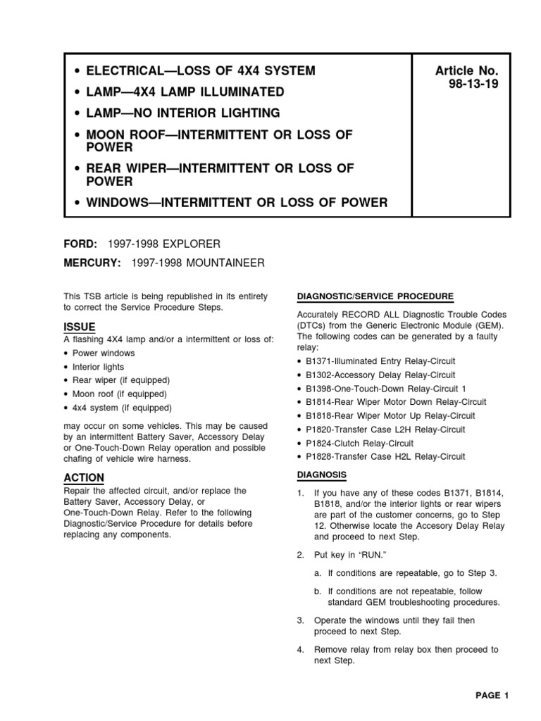 Tsb98 13 19 Boletin Ford Relay Battery Electricity Delay On Circuit