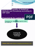 Webinar on Transfer of Analytical Methods and Procedures According to USP 1224