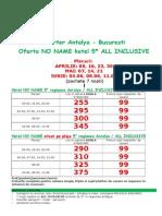 Oferta NO NAME Hotel, Antalya-Bucuresti, APRILIE-MAI-IUNIE 2015