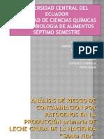 Presentacion ANÁLISIS DE RIESGOS DE PATOGENOS EN PROCESO PRIMARIO DE LECHE CRUDA