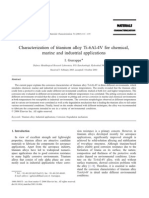Characterization of titanium alloy Ti-6Al-4V for chemical, marine and industrial applications