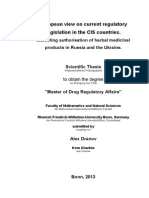 European View on Current Regulatory Legislation in CIS Countries Marketing Authorisation of Herbal Medicinal Products in Russia and Ukraine