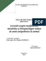 Cercetări Asupra Modificărilor Metabolice Şi Histopatologice Induse de Unele Antipsihotice La Animal