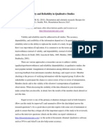 Validity and Reliability in a Qualitative Study