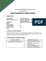 Silabo Modular Mantenimiento de Equipos de Computo 2014-i