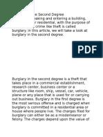 Burglary in the Second Degree
