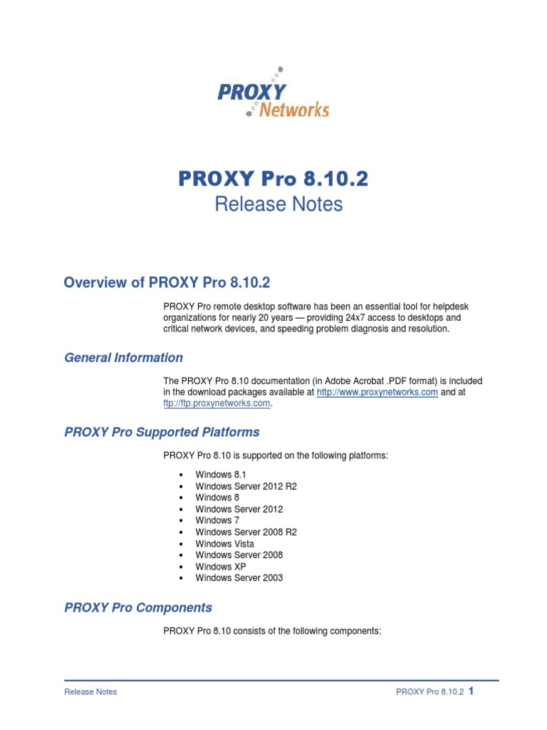 PROXY Pro 8 10 2 Remote Desktop Software - Release Notes | Remote