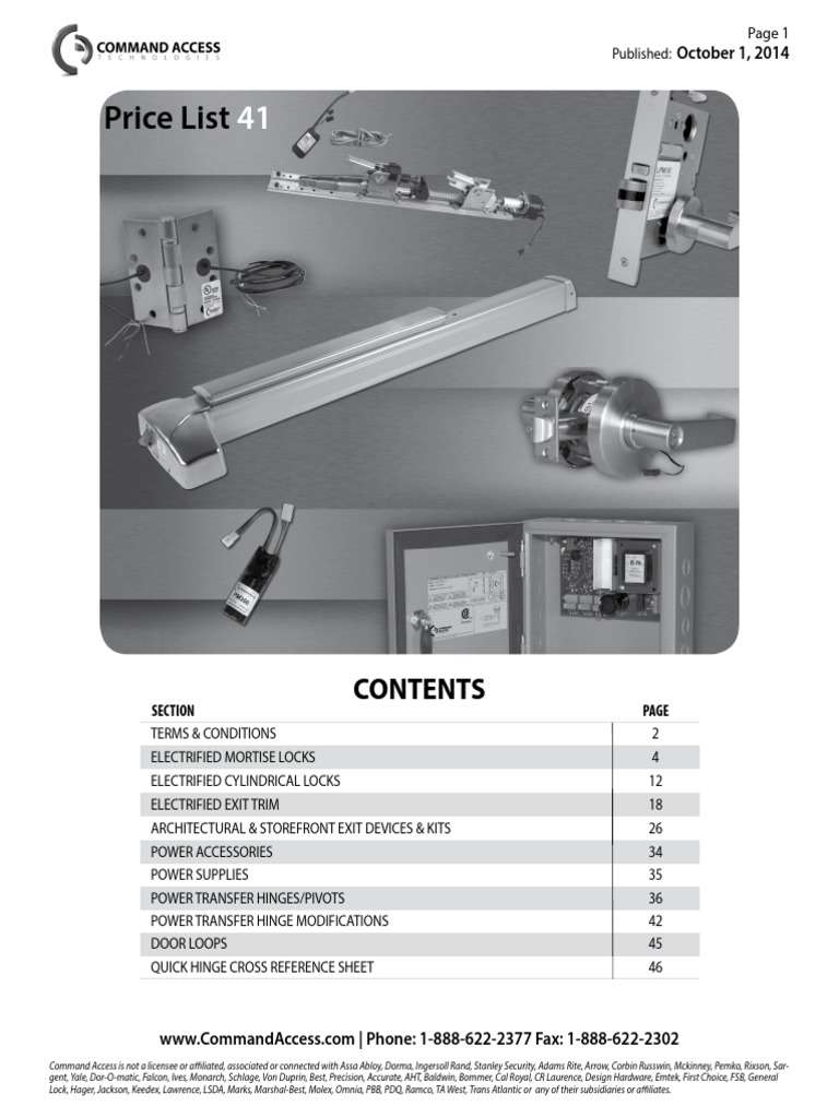 Command Access Technologies Oct 2014 Switch Damages Von Duprin Ps873 Wiring Diagram