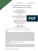 A Study on Student Satisfaction in Pakistani Universities