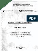Utitización Industrial de Nuevas Especies Forestales en El Perú