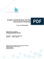 Standardization Versus Adjustment Problems in International Marketing